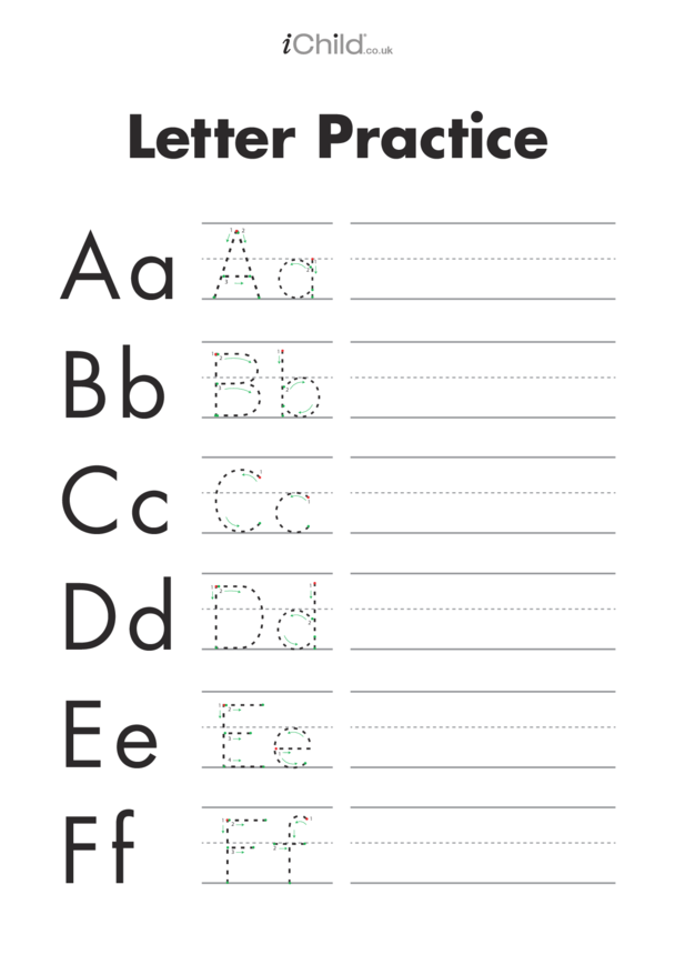 Alphabet Letters Handwriting Practice Sheet