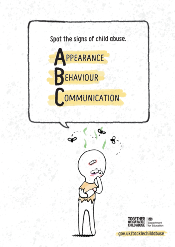 Thumbnail image for the DfE: Spot the Signs of Child Abuse - A,B,C: A4 Poster activity.
