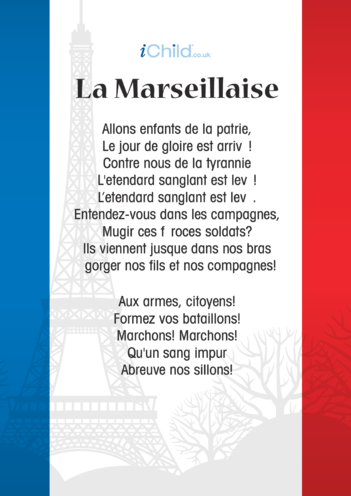 Thumbnail image for the La Marseillaise, French National Anthem activity.