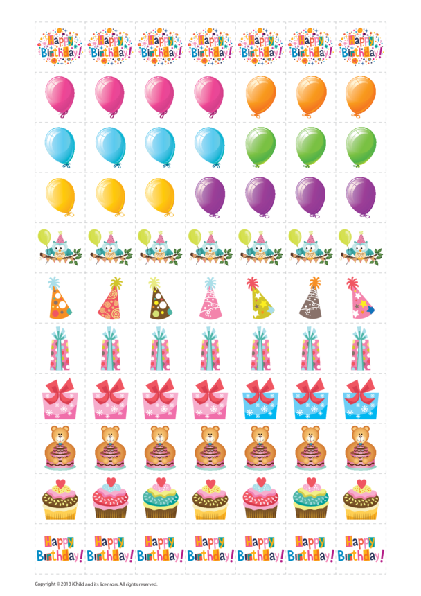 Birthday Reward Chart Stickers