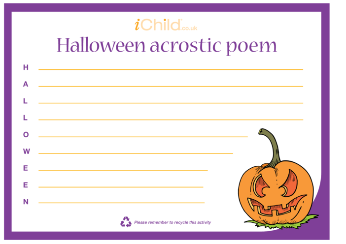 Thumbnail image for the Halloween Acrostic Poem activity.