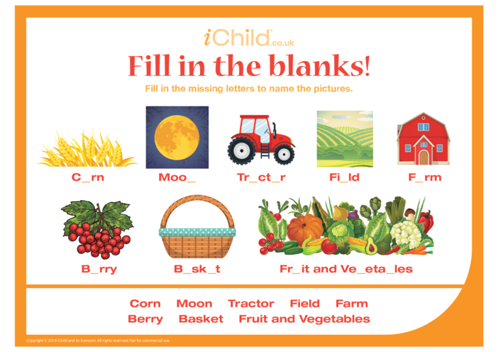 Thumbnail image for the Fill in the Blanks - Harvest Festival activity.