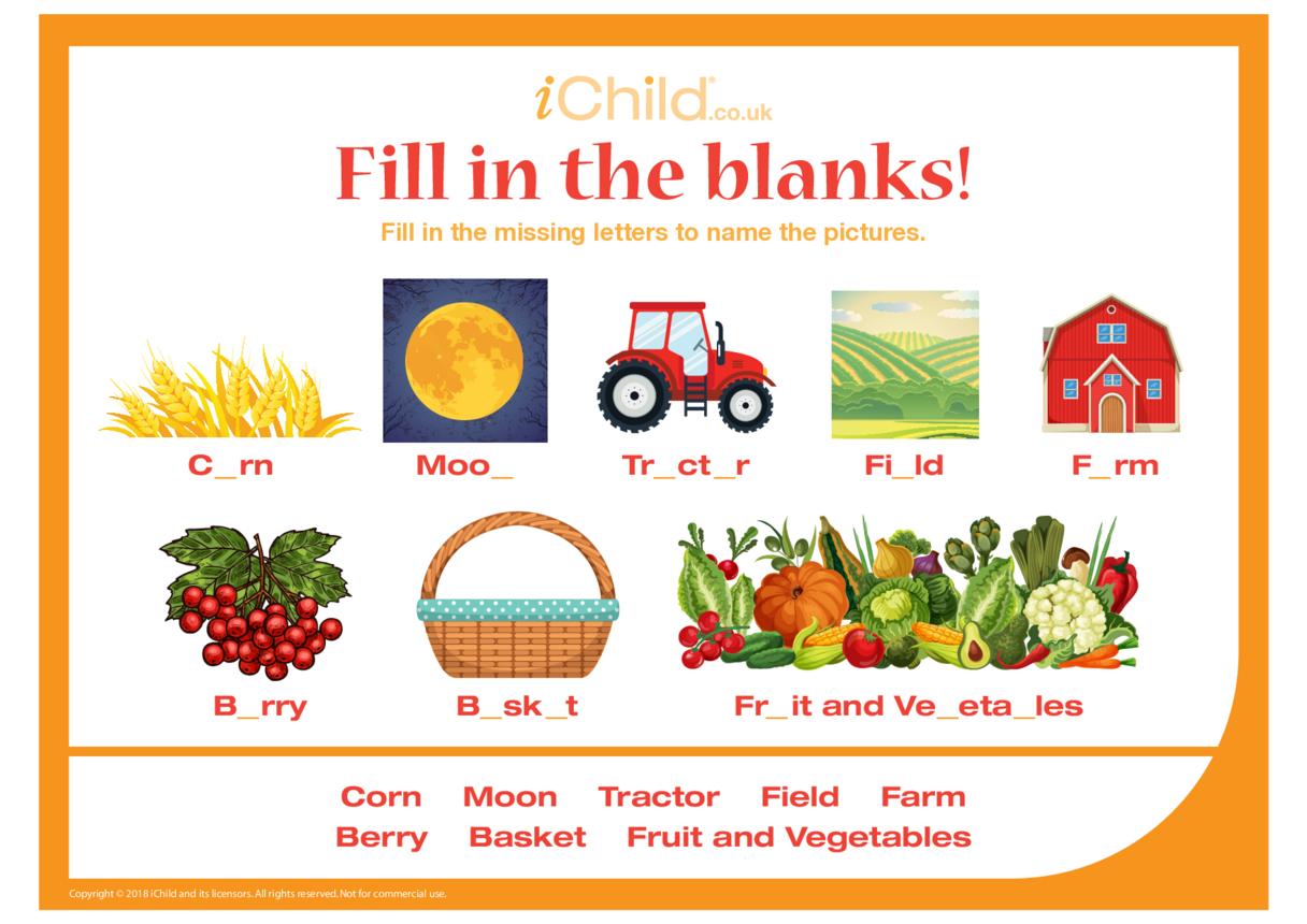 Fill in the Blanks - Harvest Festival