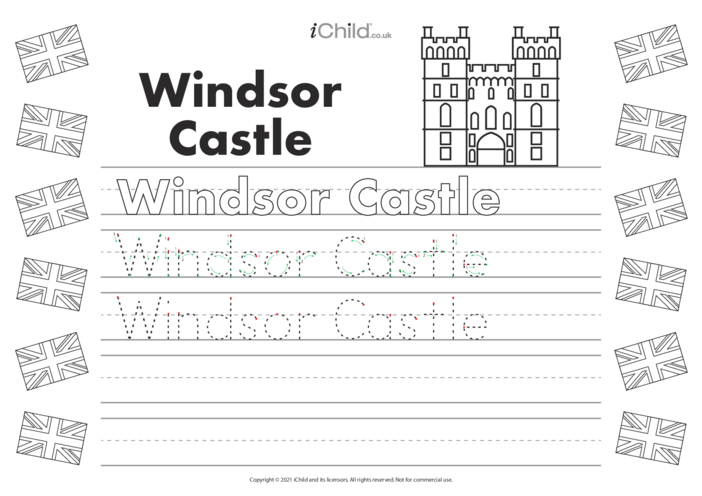 Thumbnail image for the Windsor Castle Handwriting Practice Sheet activity.
