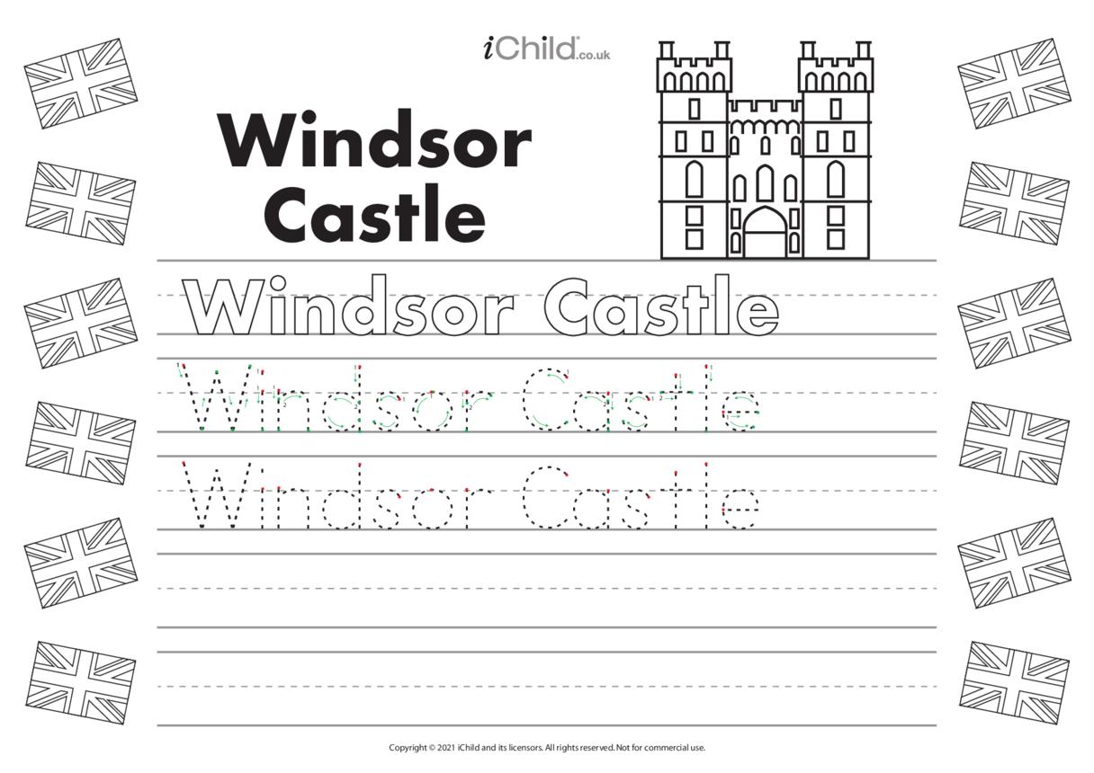 Windsor Castle Handwriting Practice Sheet