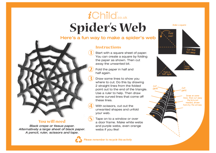 Thumbnail image for the Halloween Spider's Web Craft activity.
