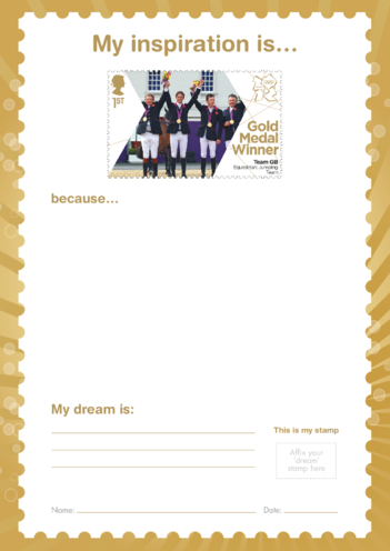 Thumbnail image for the My Inspiration Is- Team GB Equestrian Jumping- Gold Medal Winner Stamp activity.