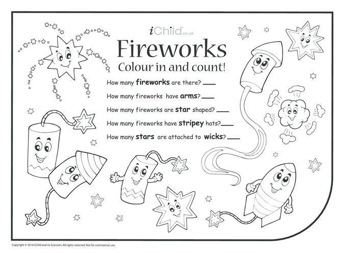 Thumbnail image for the Colour in & Count - Fireworks activity.