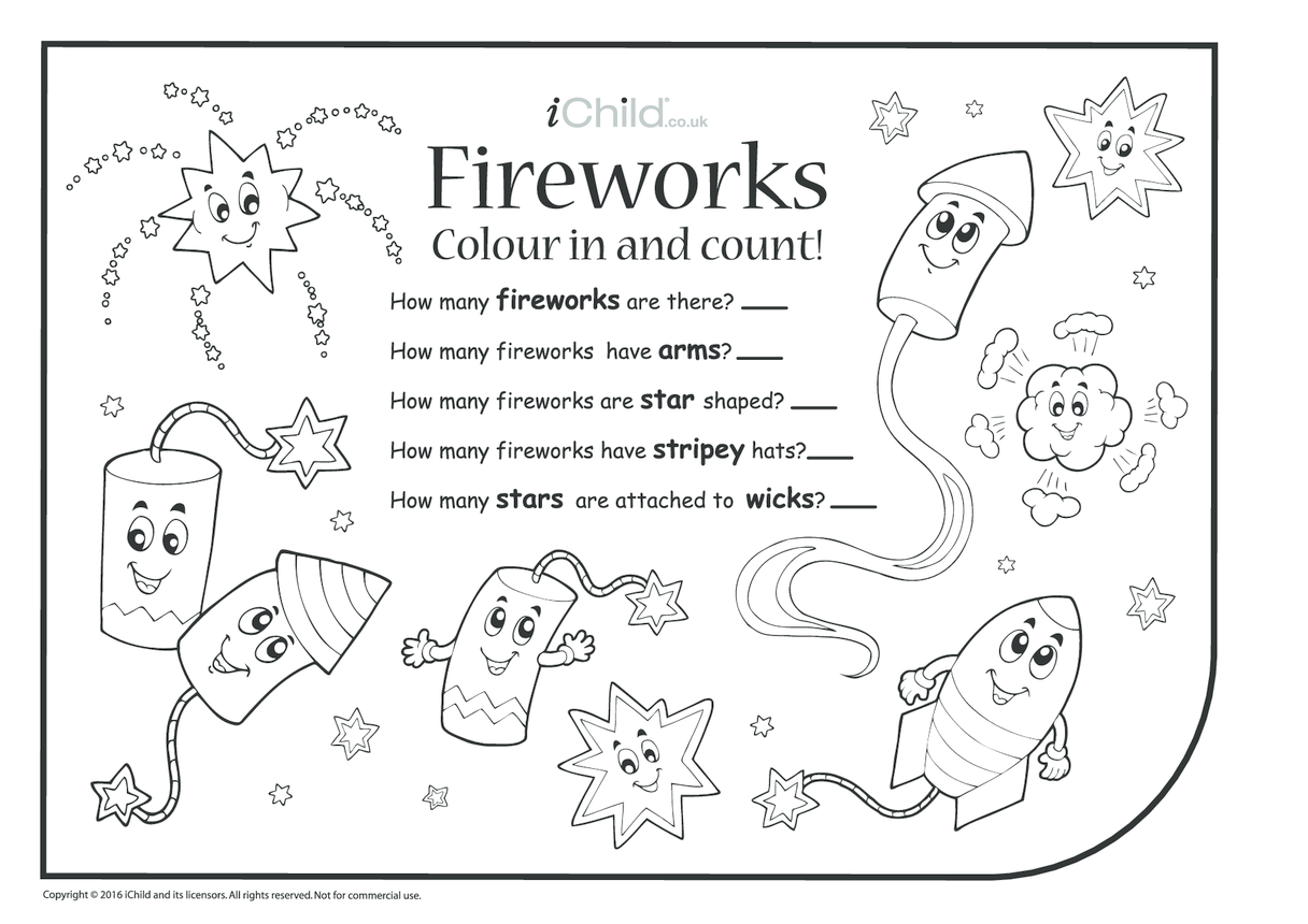 Colour in & Count - Fireworks