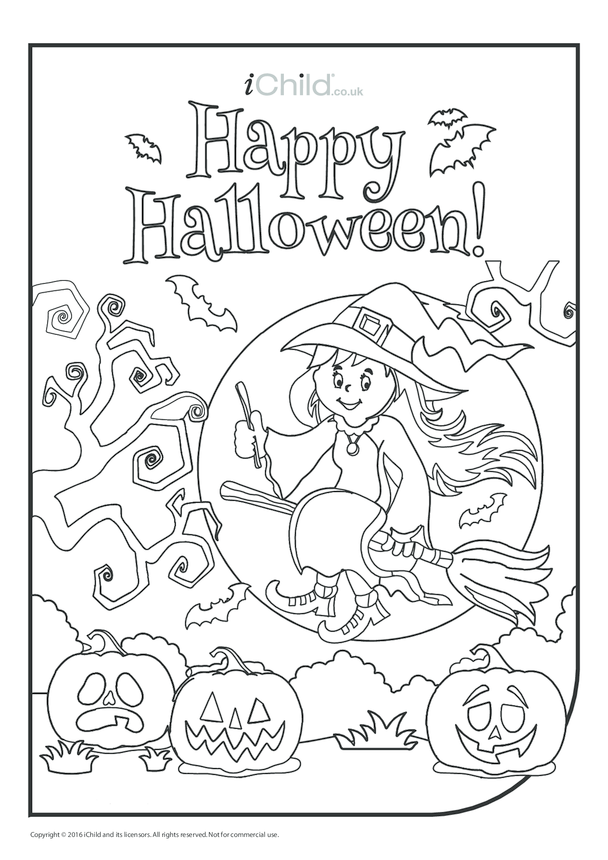 Happy Halloween Colouring in Picture