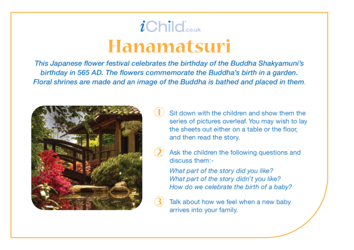 Thumbnail image for the Hanamatsuri Religious Festival Story activity.