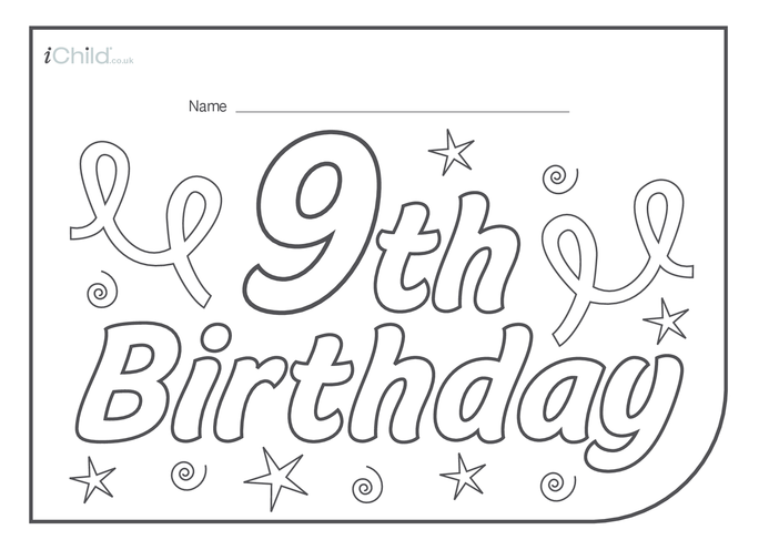 Thumbnail image for the Birthday Party Place Mats for 9 year old 9th birthday activity.