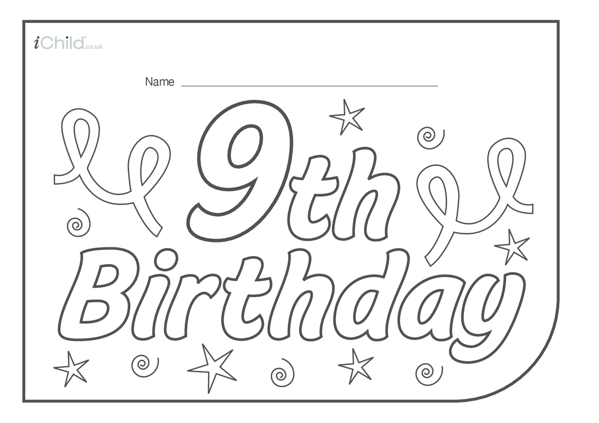 Birthday Party Place Mats for 9 year old 9th birthday