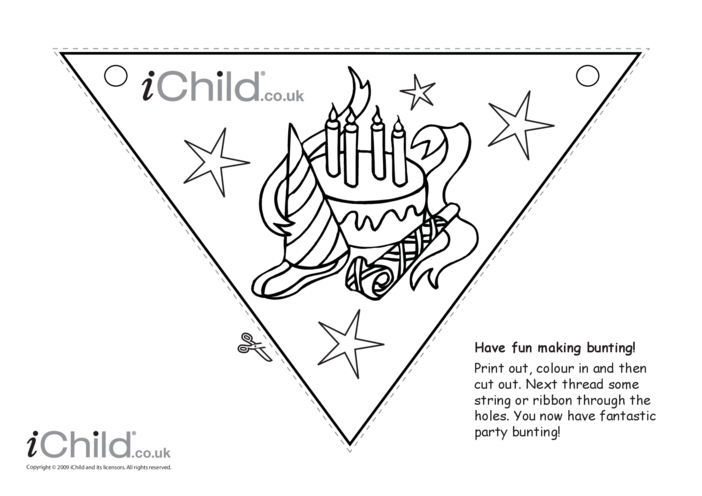 Thumbnail image for the Birthday Party Bunting (black & white) activity.