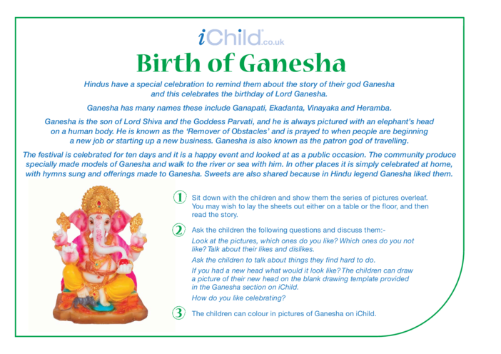 Thumbnail image for the The Birth of Ganesha Religious Festival Story activity.