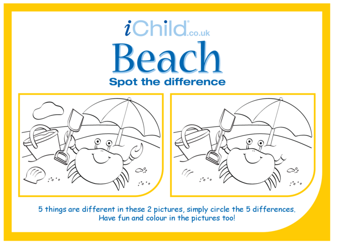 Thumbnail image for the Beach Spot the Difference activity.