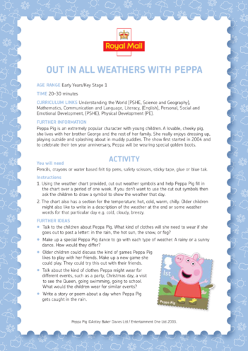 Thumbnail image for the Peppa Pig: Out In All Weathers With Peppa Lesson Plan (EYFS/KS1) activity.