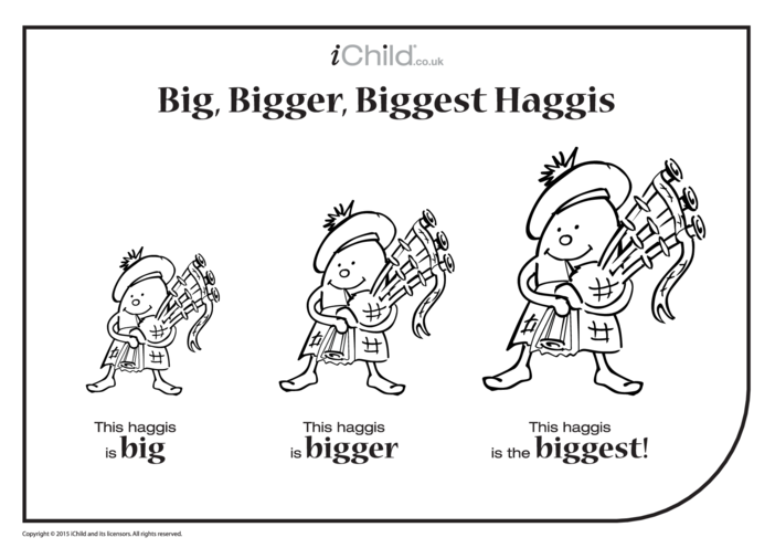 Thumbnail image for the Big, Bigger, Biggest Haggis activity.