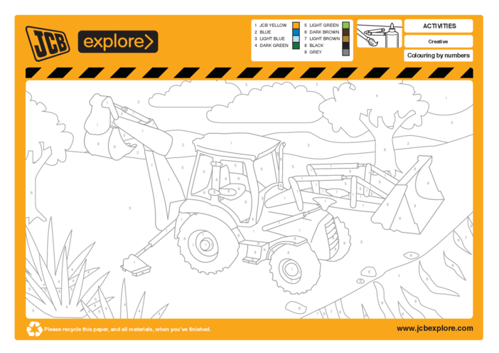 Thumbnail image for the JCB Colour by Numbers activity.