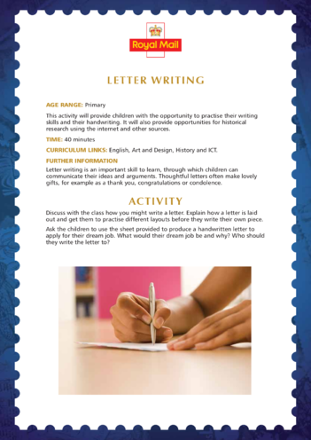 Thumbnail image for the 2013_Primary 4) Letter Writing Lesson Plan activity.
