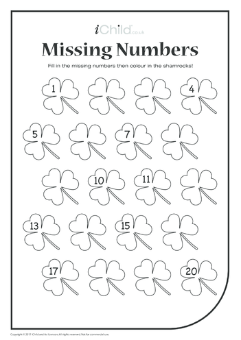 Thumbnail image for the Missing Numbers - Shamrocks activity.