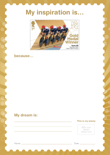 Thumbnail image for the My Inspiration Is- Team GB Cycling Men's Persuit- Gold Medal Winner Stamp activity.