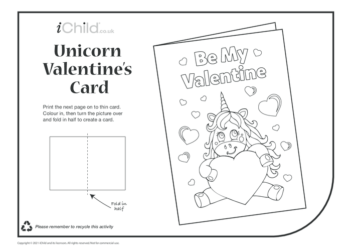 Thumbnail image for the Be my Valentine Unicorn Card activity.