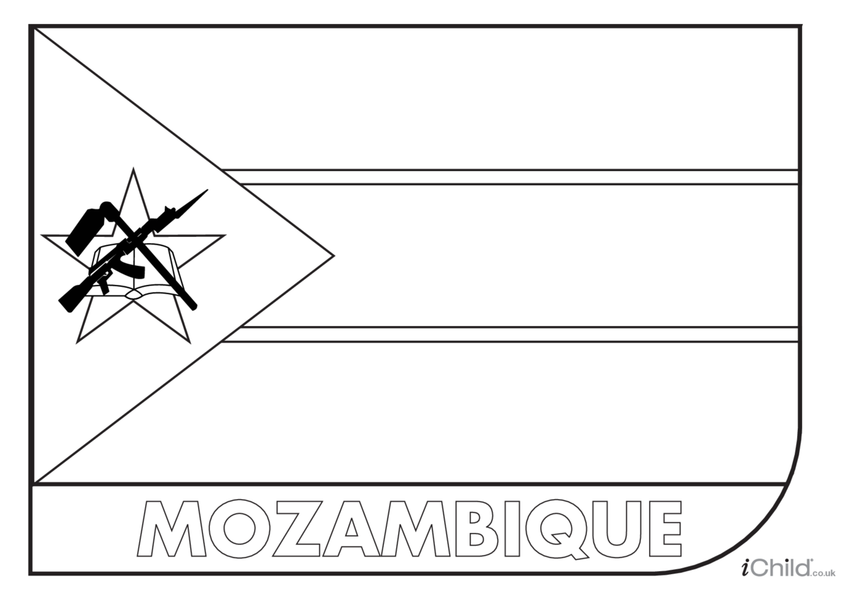 Mozambique Flag Colouring in Picture (flag of Mozambique)