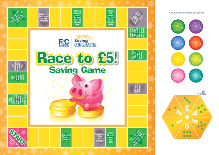 Thumbnail image for the Age 5-7 years: Race to £5 Savings Board Game activity.