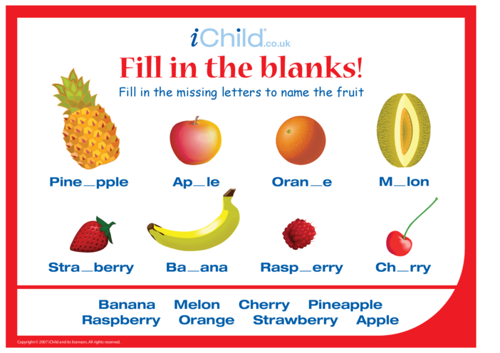 Thumbnail image for the Fill in the Blanks - Fruit activity.