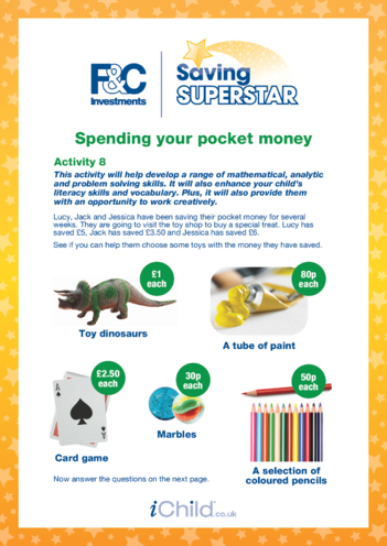 Thumbnail image for the Age 5-7 years (8) Spending your pocket money activity.