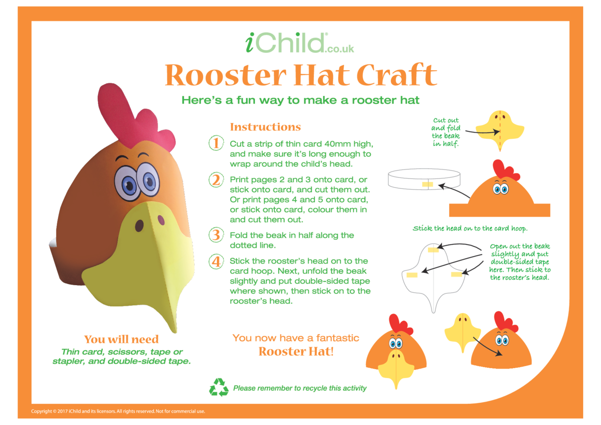 Chinese Year of the Rooster Hat Craft