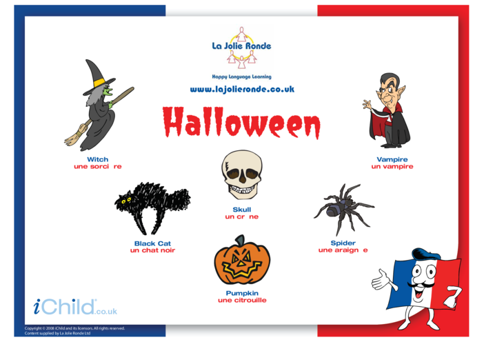 Thumbnail image for the Halloween Words in French activity.