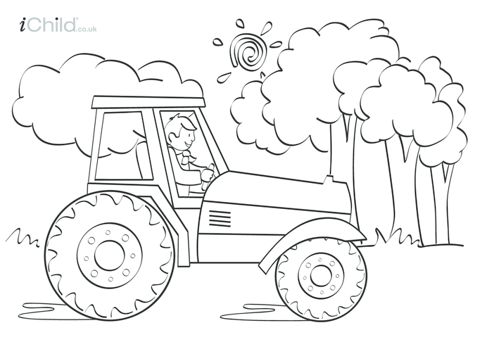 Thumbnail image for the Tractor Colouring in picture activity.
