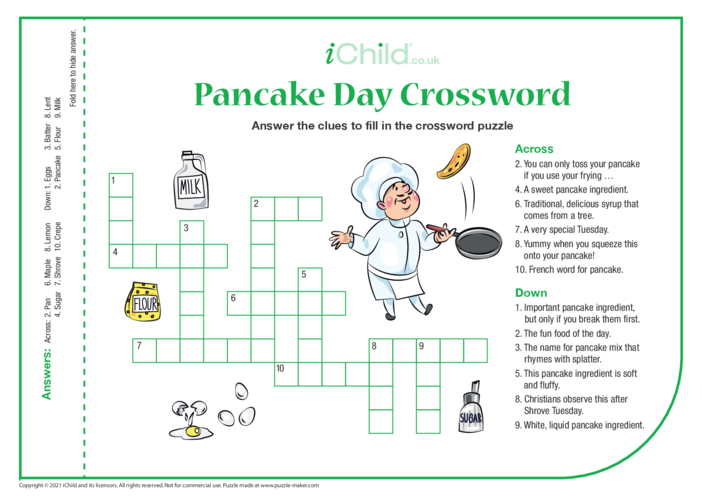 Thumbnail image for the Pancake Day Crossword activity.