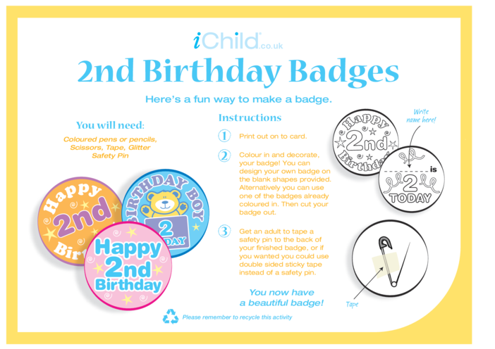 Thumbnail image for the Birthday Badges designs template for 2 year old 2nd birthday activity.