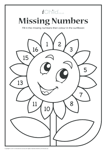 Thumbnail image for the Missing Numbers - Sunflower Petals activity.