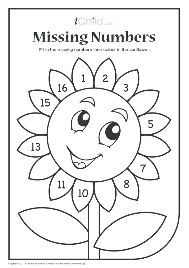 Missing Numbers - Sunflower Petals