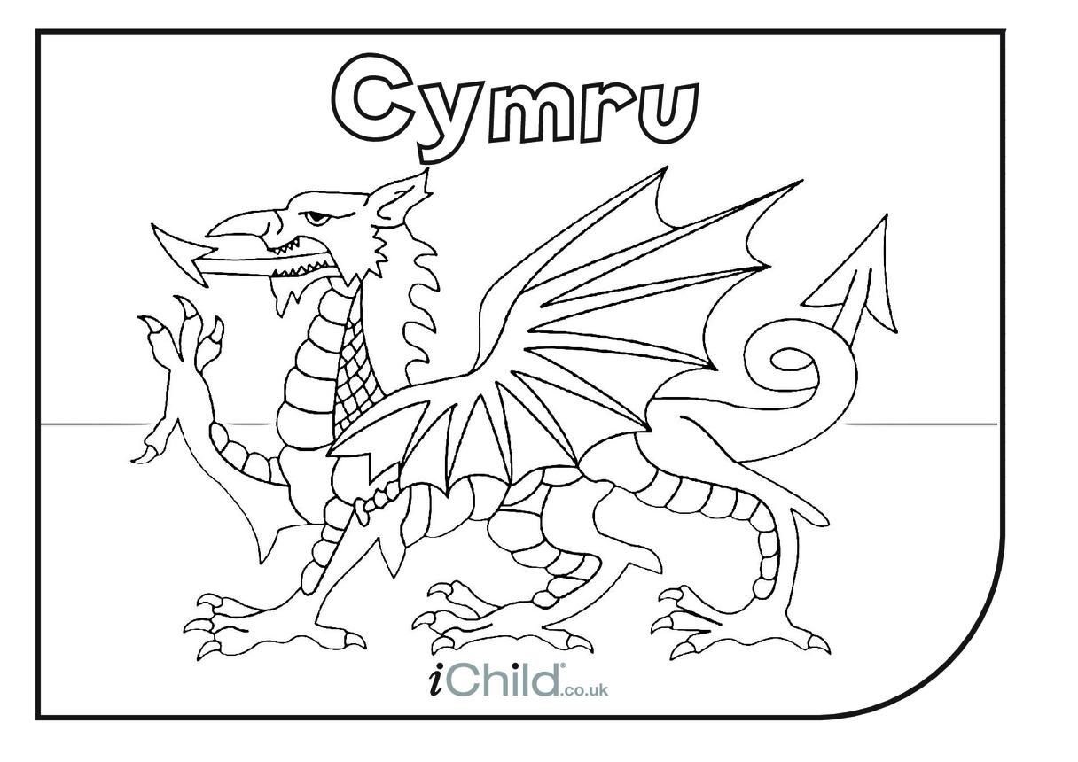 Cymru colouring in picture
