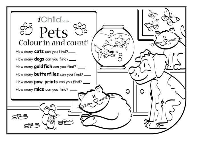 Thumbnail image for the Colour in & Count - Pets activity.