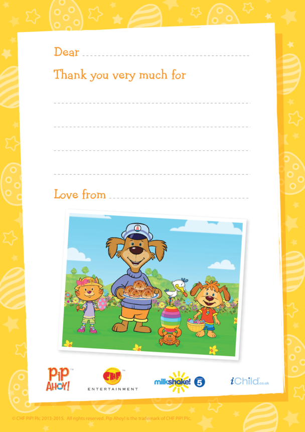 Easter Thank You Letter Paper (Pip Ahoy!)