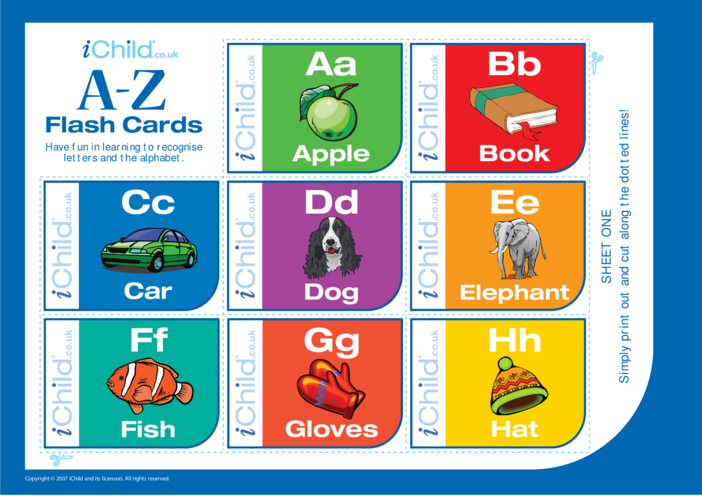 Thumbnail image for the A-Z Alphabet Flash Cards activity.