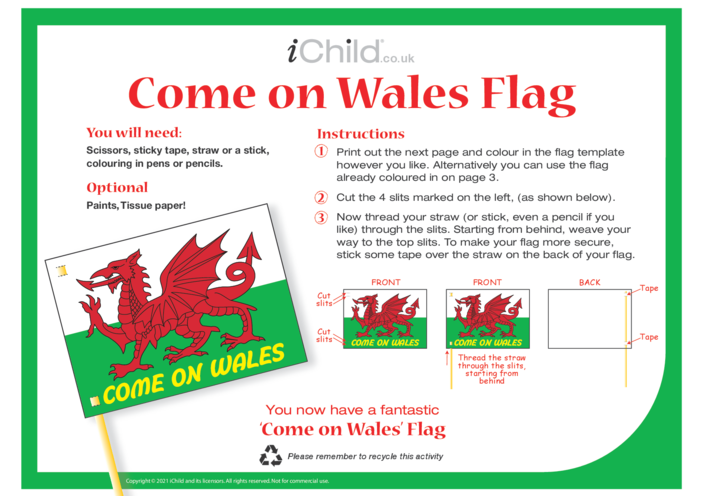 Thumbnail image for the Come on Wales! Make a Flag activity.
