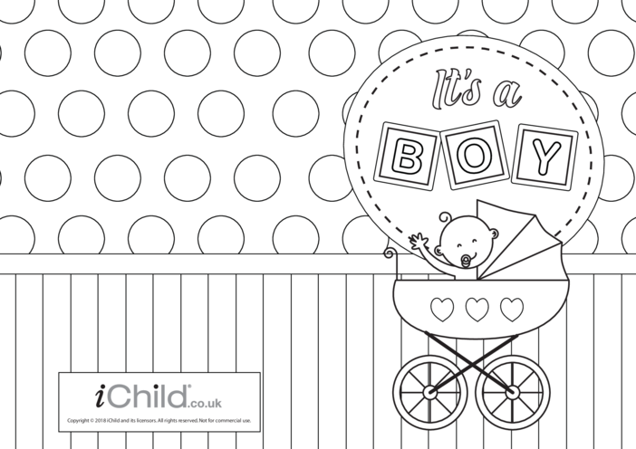 Thumbnail image for the It's a Boy! New Baby Card activity.