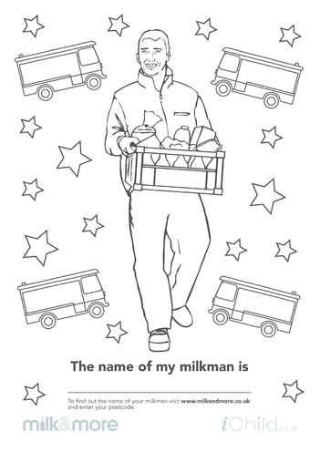 Thumbnail image for the The Name of My Milkman is... Colouring in Picture activity.
