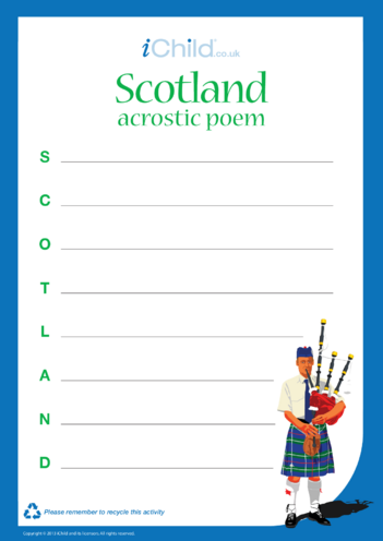 Thumbnail image for the Scotland Acrostic Poem activity.