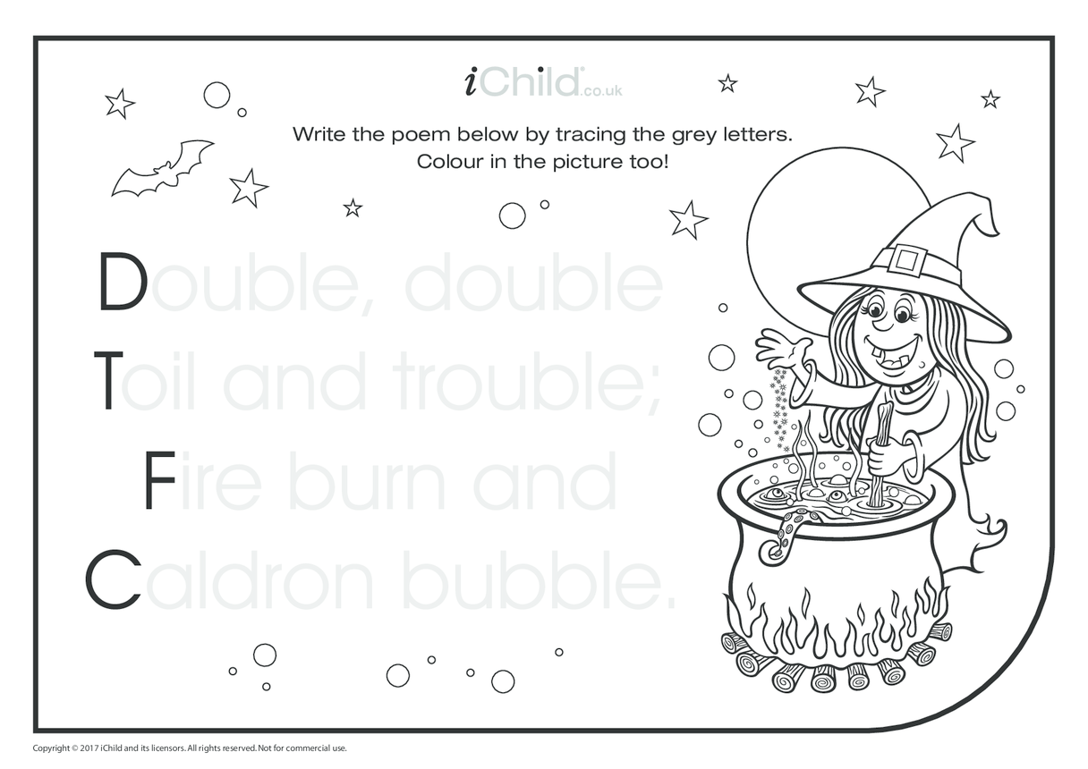 Double, Double, Toil & Trouble. Poem & Handwriting Practice Sheet