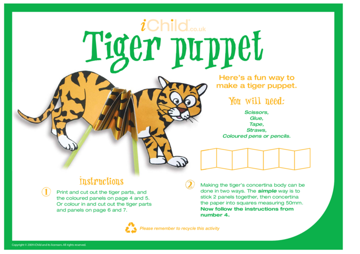 Thumbnail image for the Chinese New Year Tiger Craft Puppet activity.