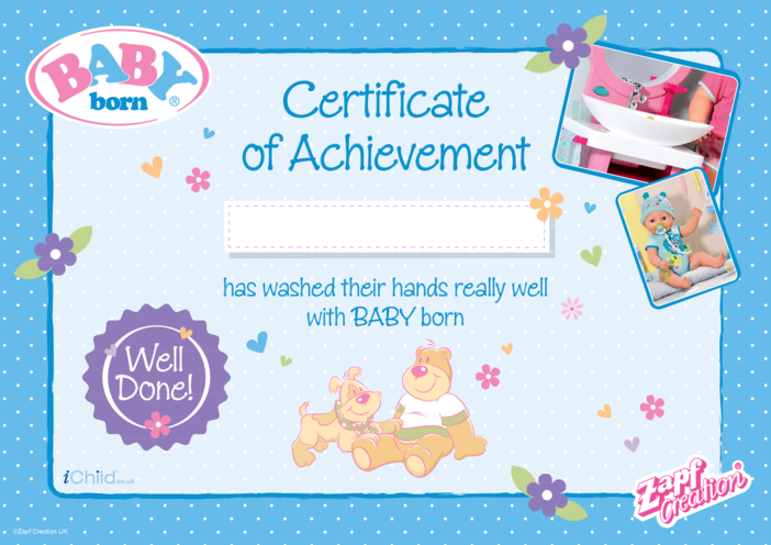 Thumbnail image for the 2020 BABY born - Washing Hands Certificate activity.