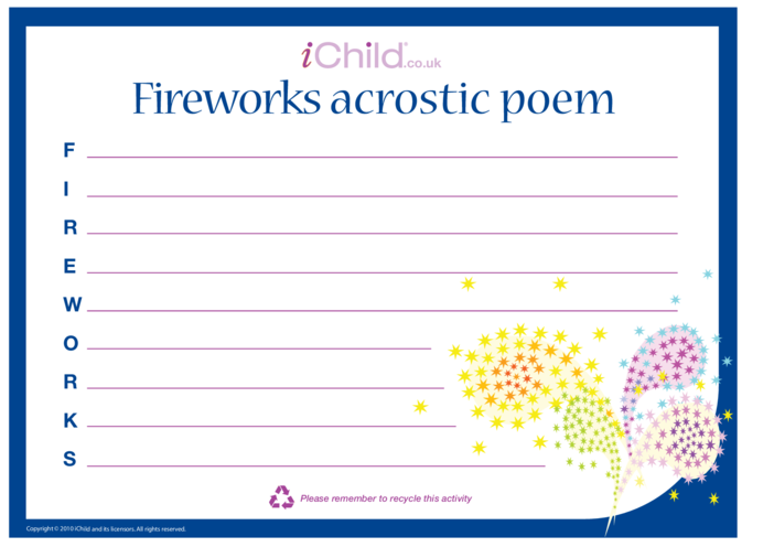 Thumbnail image for the Fireworks Acrostic Poem activity.